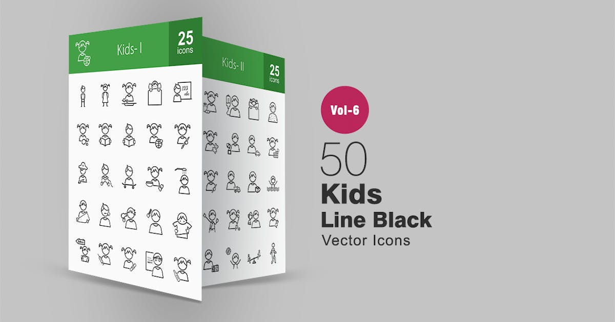 Download 50 Kids Line Icons by IconBunny