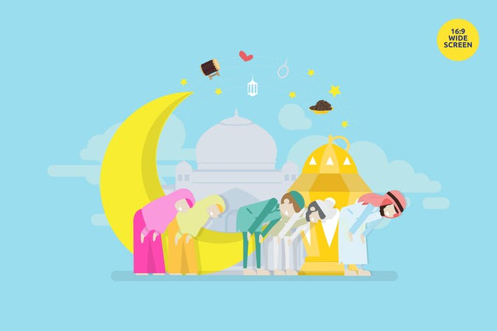 Thumbnail for Eid Prayer Vector Concept Illustration