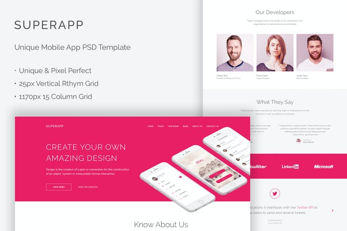Thumbnail for SuperApp - Unique Mobile App Website PSD