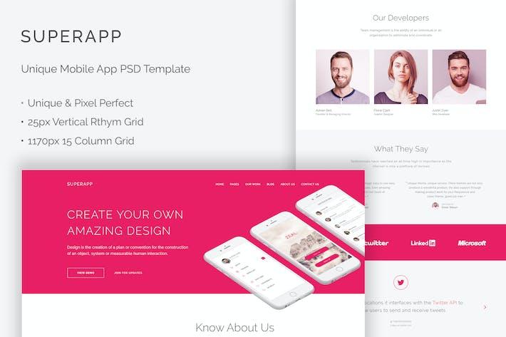 Thumbnail for SuperApp - Unique Mobile App Website PSD