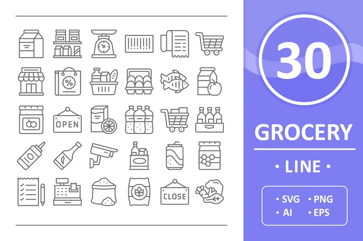 Thumbnail for Grocery Icons - Line