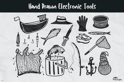 Material de pesca dibujado a mano.