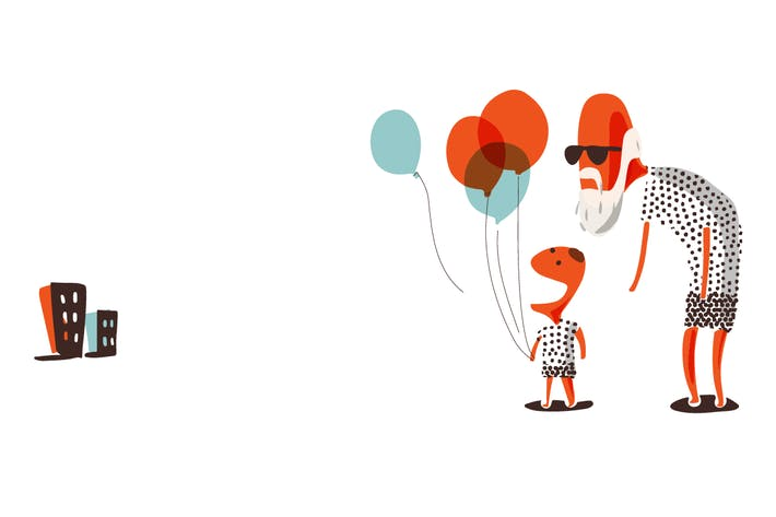 Thumbnail for Grandpa and grandson holding balloon.