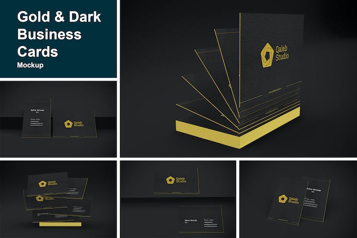 Thumbnail for Gold & Dark Business Cards Mockup