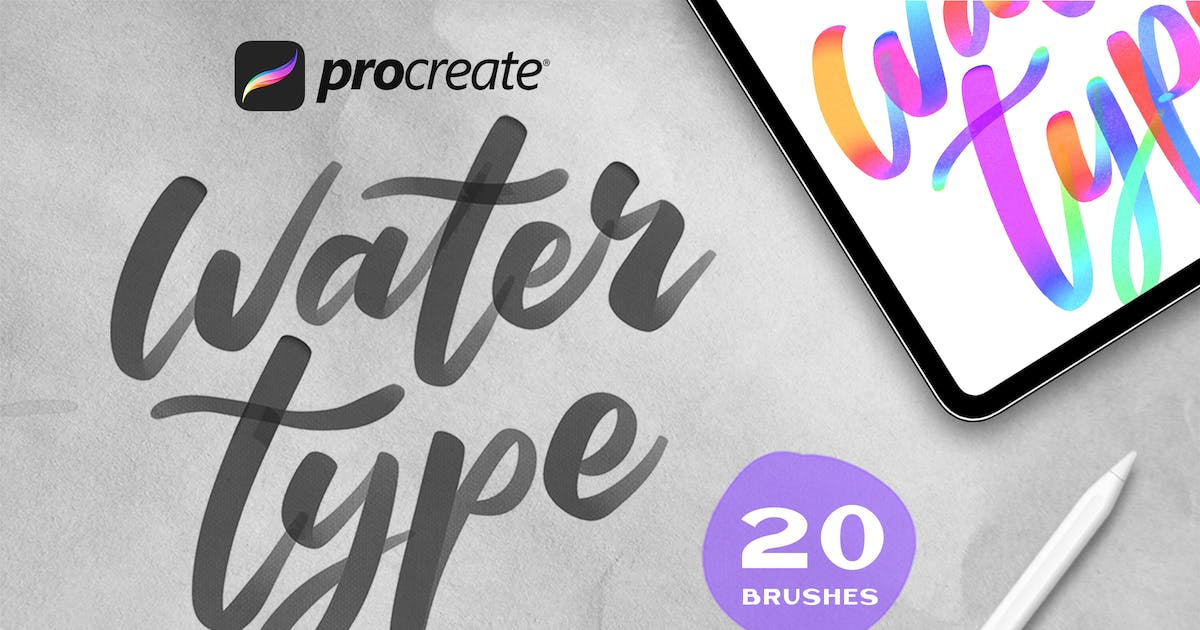 Download Water Type - Procreate Brushes by Streakside