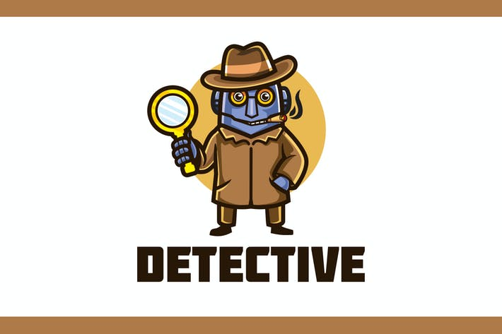 Thumbnail for Cartoon Detective Robot Mascot Logo