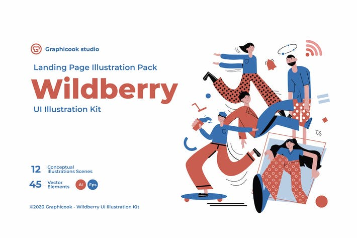Thumbnail for Wildberry Landing Page Illustration Pack