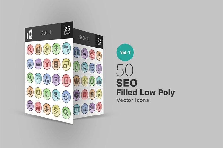 Thumbnail for 50 SEO Filled Low Poly Icons