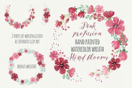 Pink Profusion Watercolor Wreath
