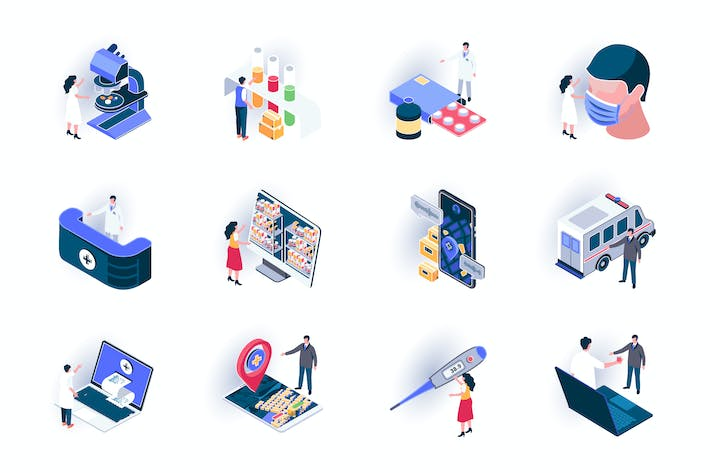 Thumbnail for Medical Service Isometric Icons Pack
