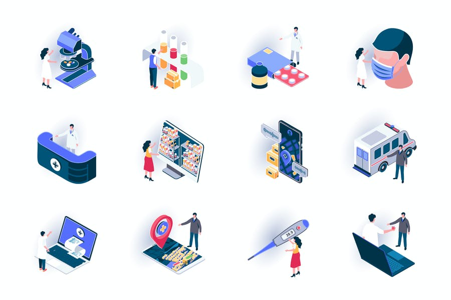 Medical Service Isometric Icons Pack