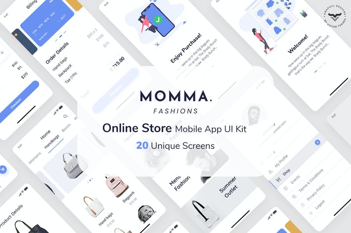 Thumbnail for Momma Online Store Mobile App UI Kit