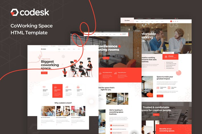 Thumbnail for Codesk - Coworking Space HTML Template
