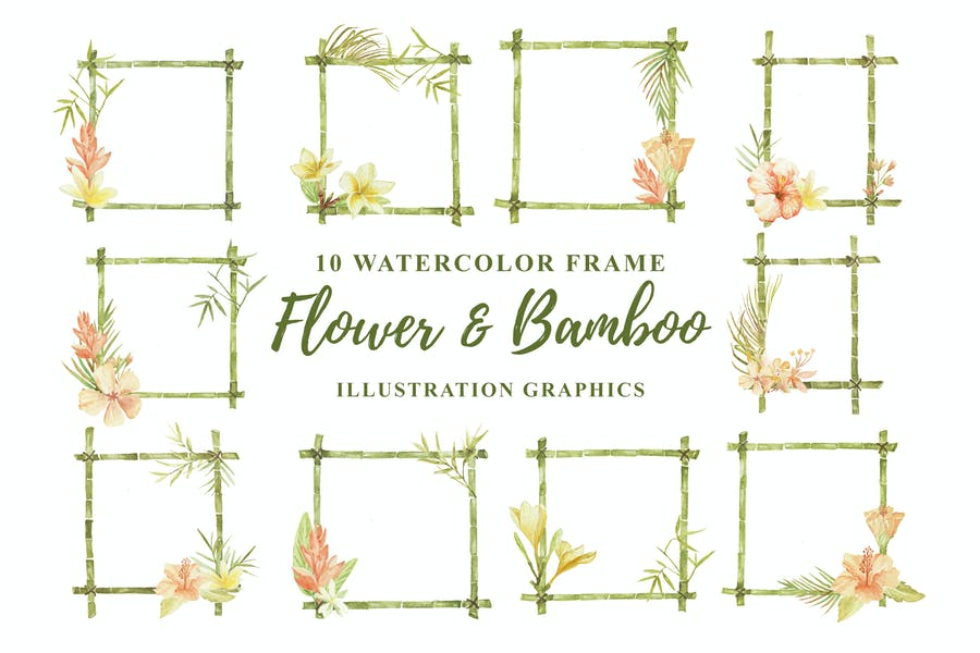 10 Watercolor Frame Flower and Bamboo