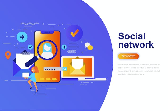 Thumbnail for Social Network Modern Flat Concept