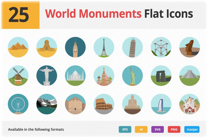 Cover Image For World Monuments Flat Icons Vol 1