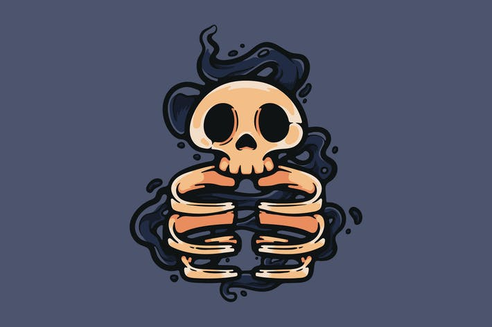 Cartoon Skull With Dark Smoke