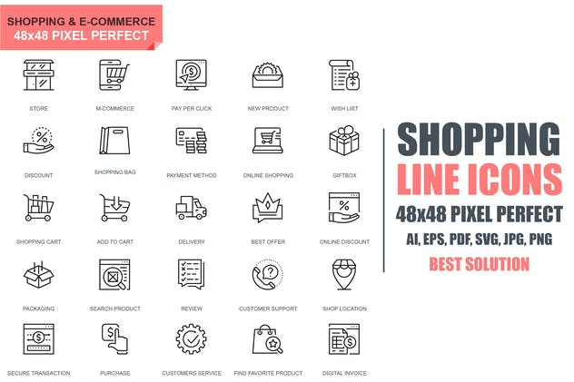 Simple Set Shopping and E-Commerce Line Icons
