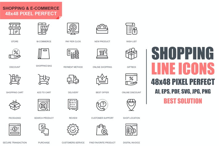 Thumbnail for Simple Set Shopping and E-Commerce Line Icons