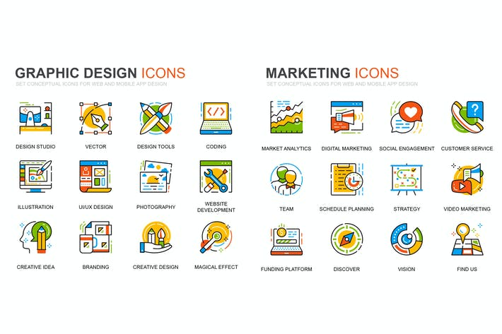 Thumbnail for Graphic Design and Marketing Line Icons Set