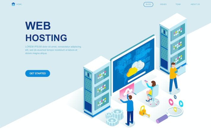 Cover Image For Web Hosting Isometric Landing Page Template