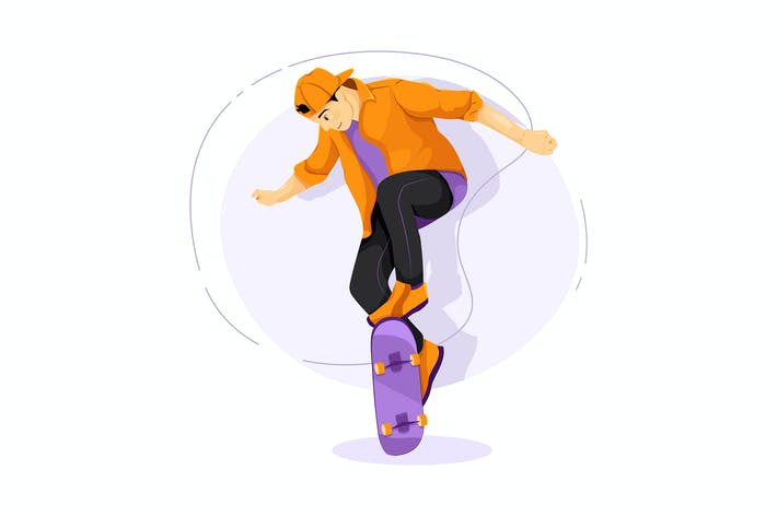 Thumbnail for Skateboarding vector illustration concept