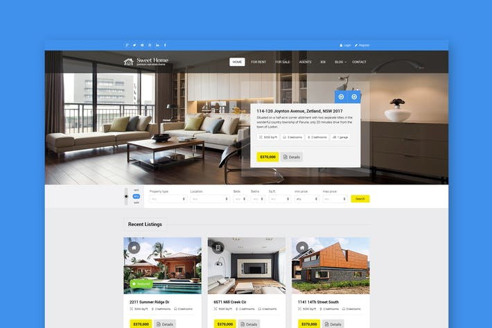 Thumbnail for Sweethome - Real Estate PSD Template