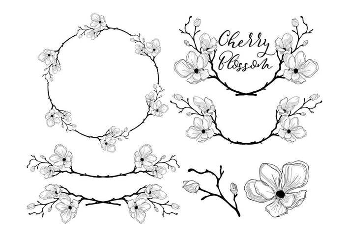 Thumbnail for Hand Drawn Cherry Blossom Arrangements. Dividers.