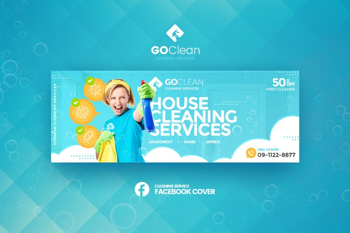 Thumbnail for GoClean - Cleaning Service Facebook Cover Template