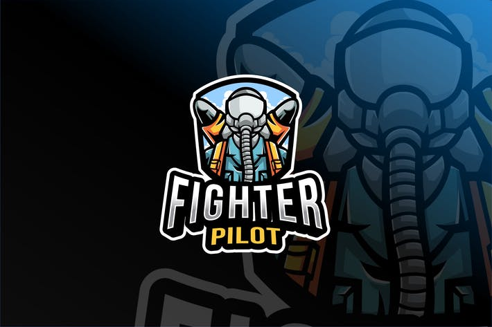 Thumbnail for Fighter Pilot Esport Logo Template