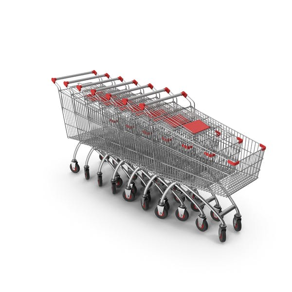 Line Of Shopping Carts with Red Plastic