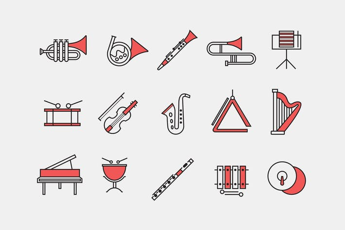 Cover Image For 15 Orchestra Instrument Icons
