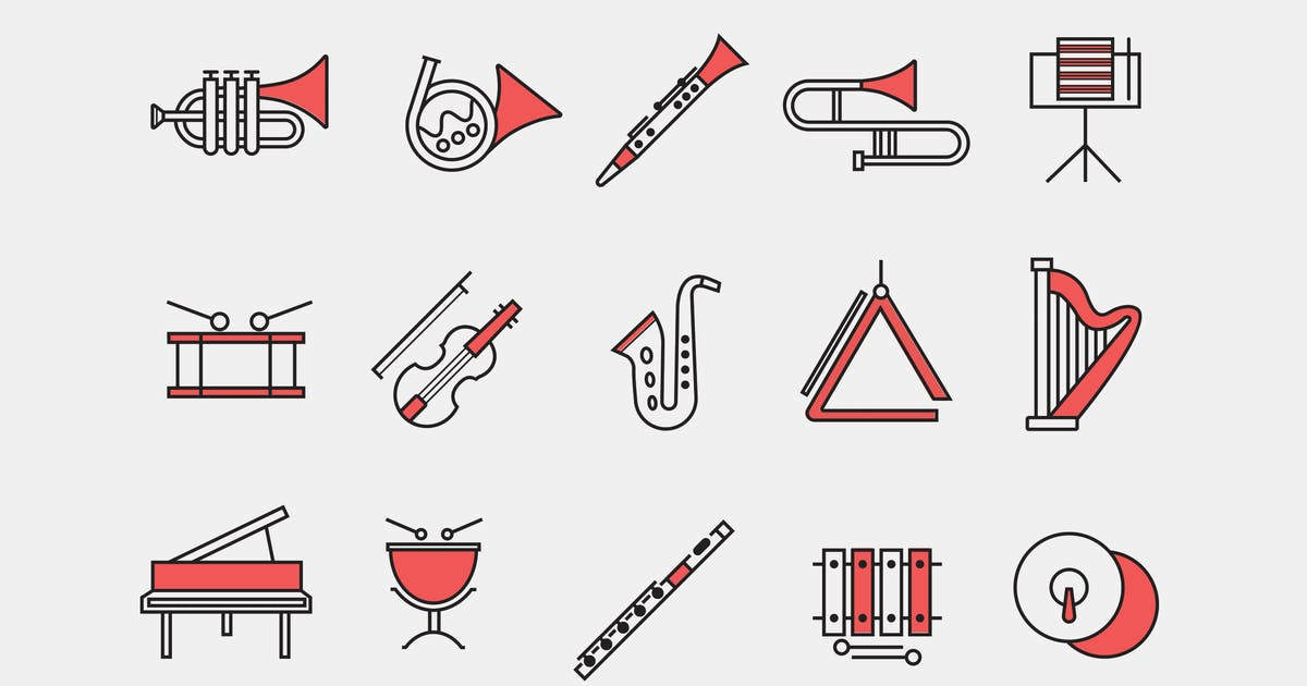 Download 15 Orchestra Instrument Icons by creativevip