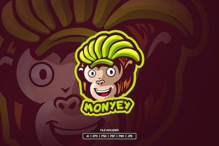 Monkey with banana mascot logo
