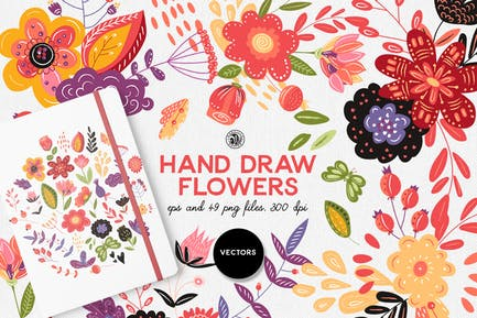 Dessinez à la main des fleurs