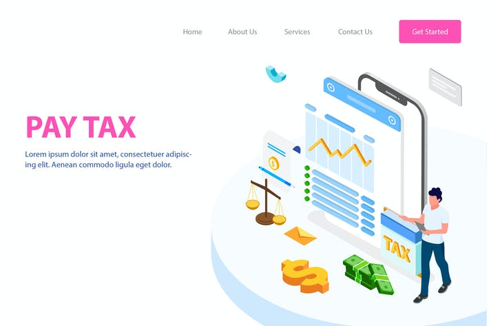 Thumbnail for Pay Tax Isometric Illustration - FV