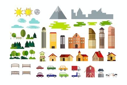 Conjunto de Horizontal urbano y Kit pueblo