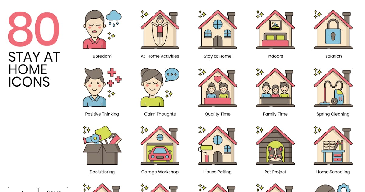 Download 80 Stay at Home Line Icons by Krafted