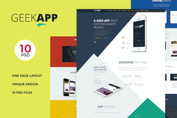 Thumbnail for GeekApp - One Page App Landing PSD Template