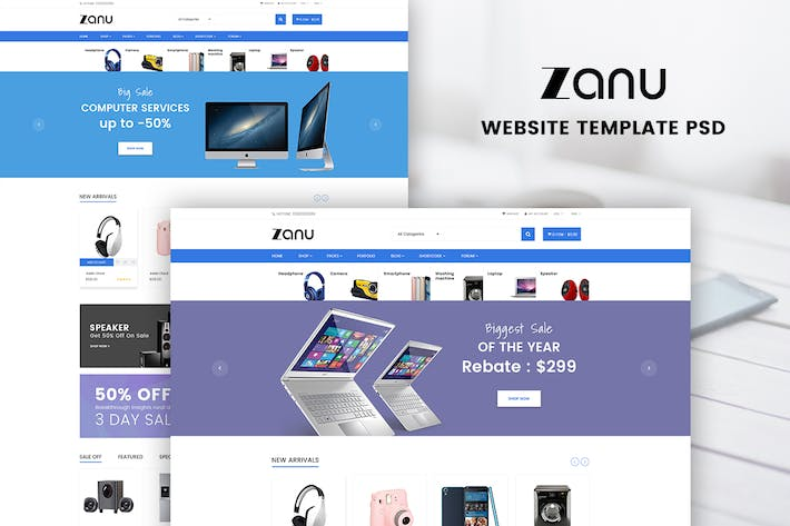 Cover Image For Digital Store eCommerce WordPress Design | Zanu