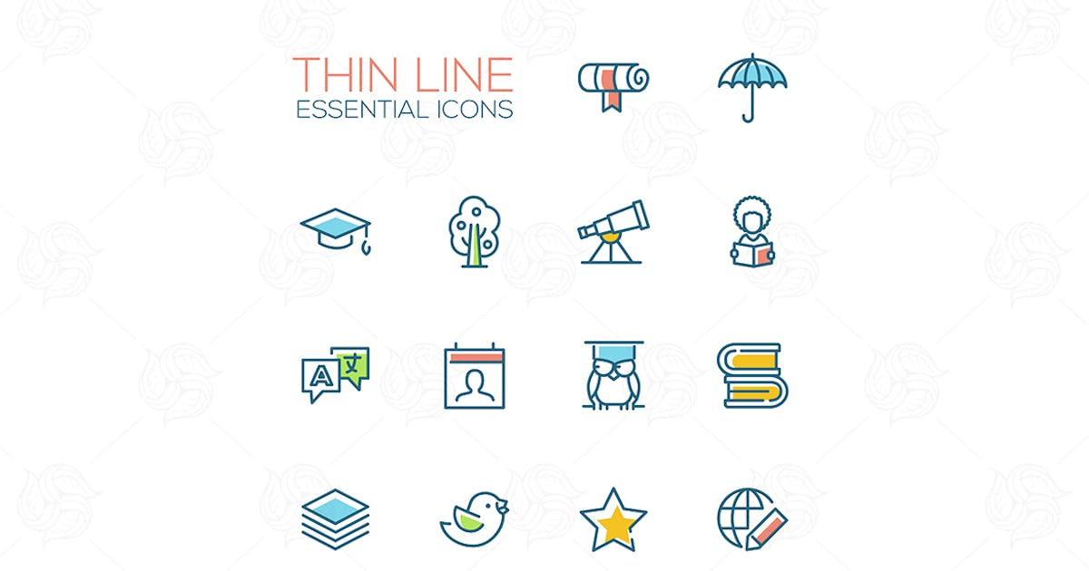 Download Education - Thin Single Line Icons Set by BoykoPictures