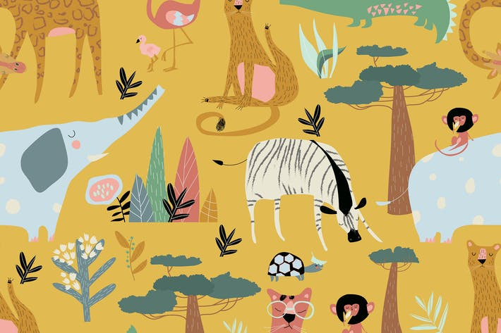 Vector seamless pattern of wild animals on yellow