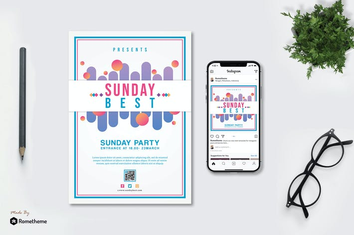 Thumbnail for Sunday Best - Party Flyer and Instagram Post HR