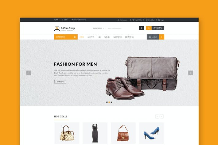 Thumbnail for Ecom - Responsive eCommerce PSD-Vorlage