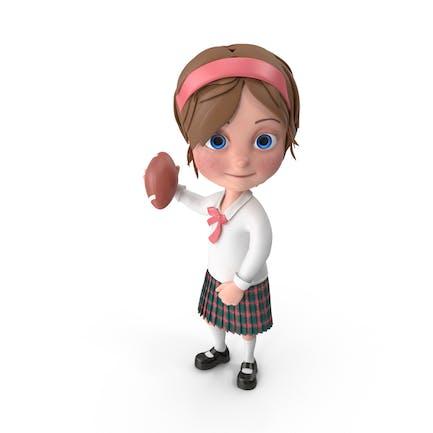 Cartoon Girl Meghan Playing Rugby