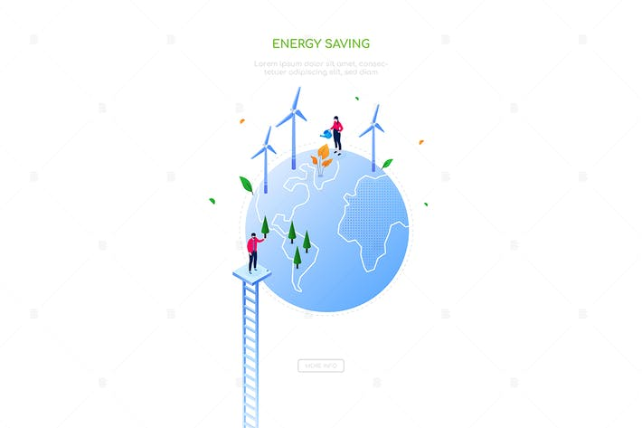 Thumbnail for Energy saving - colorful isometric web banner