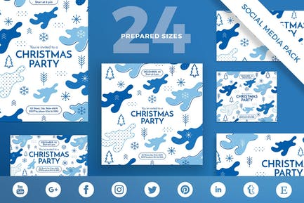 Christmas Party Social Media Pack Template