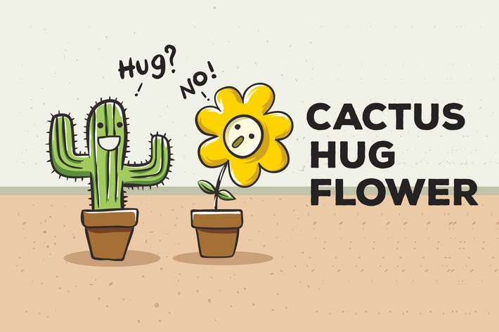 Thumbnail for Cactus Hug Flower Vector Background
