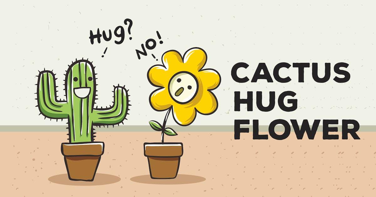 Download Cactus Hug Flower Vector Background by peterdraw