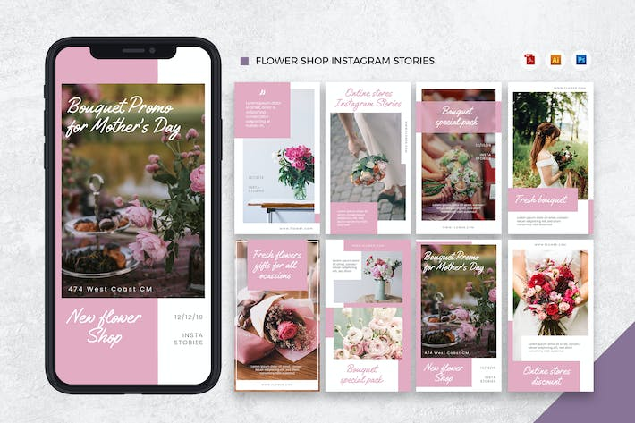Thumbnail for Flower Shop Instagram Stories KI und PSD